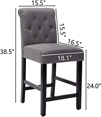 24 Inches Fabric Counter Height Bar Stools Set of 2, Upholstered BarStools with Button Tufted Backrest and Solid Wood Legs,Gr