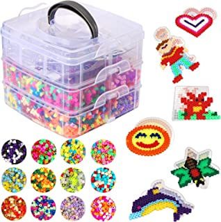 Herefun 9000 Perles à Repasser, 36 Couleurs Magique Perles de Loisirs Créatifs Kits, 6 Plaques+3 Brucelles+2 Repassage Pap...