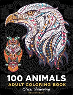 100 animals.Coloring book for adults .: lions, dogs, bears, wolves, birds, owls. Whales, dolphins, and more
