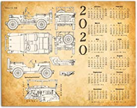 2020 Calendar - Vintage Willys Jeep Patent - 11x14 Unframed Calendar Art Print - Great Calendar Under $15 for Jeep Owners