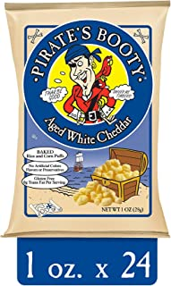 Pirate's Booty Cheese Puffs, Healthy Kids Snacks, Aged White Cheddar, 1oz (Pack of 24)