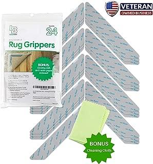 Non Slip Rug Gripper Pads: 24 Reusable Corner Carpet Tape Grippers - Adhesive No Skid Anti Slip Pad Hardwood Laminate Floors - Sticky Nonslip Grip Anchors Never Curl Area Rugs & Runner Edges