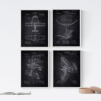 Nacnic Negro - Pack de 4 Láminas con Patentes de Aviones. Set de Posters con inventos y Patentes Antiguas. Elije el Color Que Más te guste. Impreso en Papel de 250 Gramos: