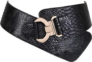 JASGOOD Wide Elastic Stretch Waist Belt Women's Adjustable Fashion Snake Pattern Dress Belt Christmas Gift