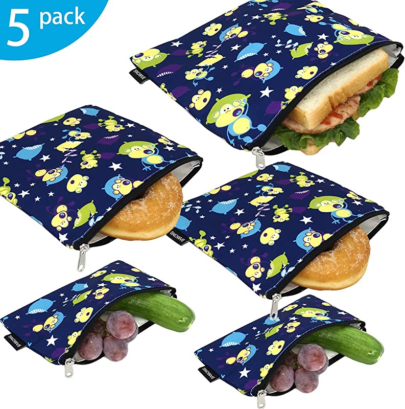 Reusable Snack Bags Sandwich Bags Dual Layer Eco Friendly Dishwasher Safe Lunch Baggies BPA Free PVC Free Set Of 5 Pack Monkey