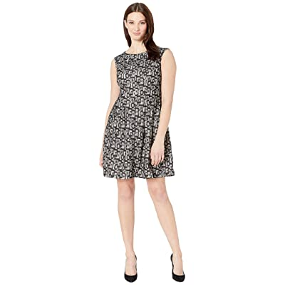 Gabby Skye Invert Tuck Bonded Lace Dress (Black/Sand) Women