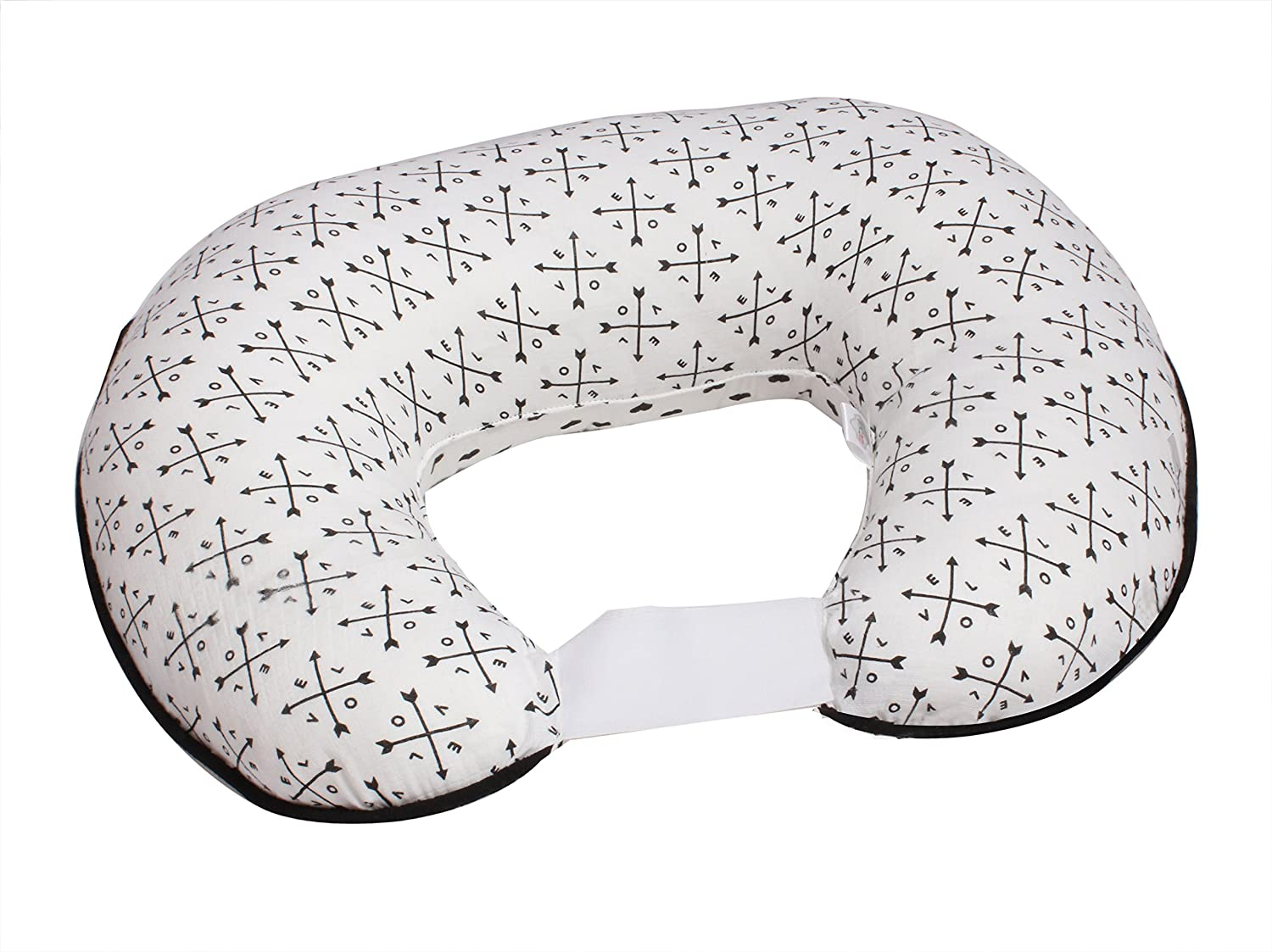 Bacati - 100 Percent Cotton Muslin (Nursing Pillow Cover Only, Black Love/Arrows/Hearts)