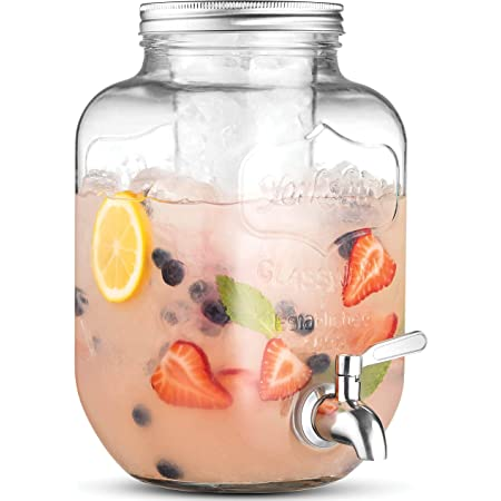 1-Gallon Glass Beverage Dispenser with 18/8–Stainless Steel Spigot - 100%Leakproof - Wide Mouth Easy Filling - Drink Dispenser with Ice Cylinder Keeps Beverage Cold For Outdoor Parties and Daily Use