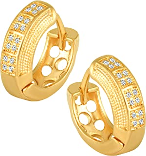 MEENAZ Traditional American diamond Jewellery Gold Plated Brass Copper Clip on Handcrafted Double layer Heart Solitaire Cr...