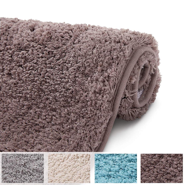 有望簡潔な受賞Shaggy バスラグ 滑り止め 吸水性 浴槽マット ソフトドアマット バスルーム キッチン 床用 16''x24'' ブラウン