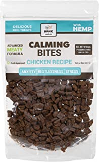DOG CALMING BITES: Real treats with real chicken, hemp and soothing botanicals. 8oz, approx 260 pieces. Soft chews help an...