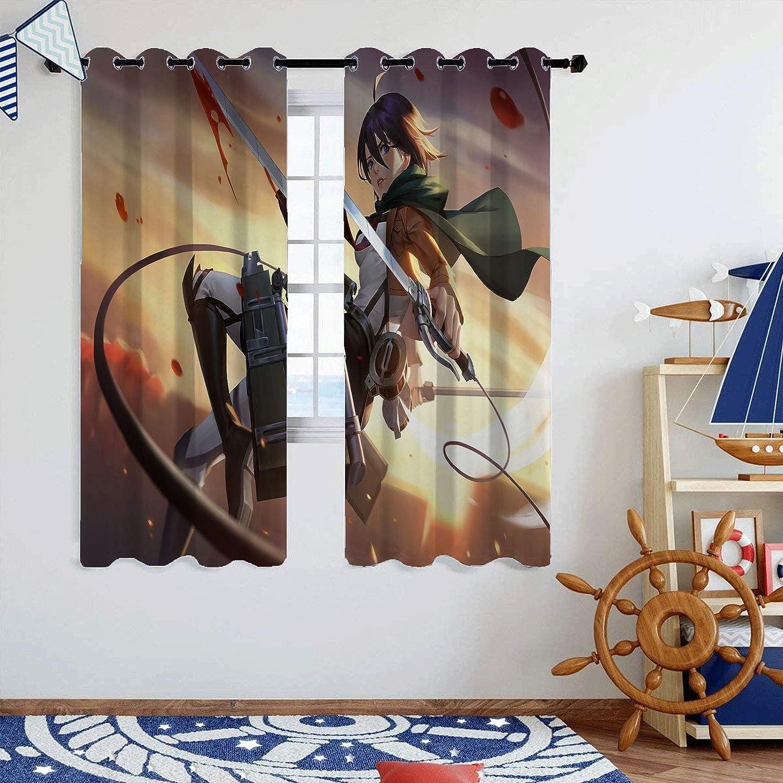 SSKJTC Breite Vorh/änge Anime Attack on Titan Eren Yeager und Colossal Titan 3-lagig Mikrofaser B 42 x L 45 cm