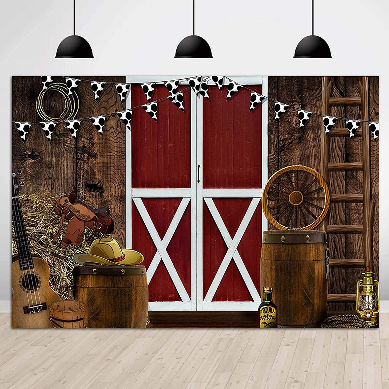 Vinyl 7x5ft Western Backdrop for Photography Photoshoot Supplies Farmhouse Barn Door West Cowboy Scene Photo Background Kids Western Birthday Party Decor Photo Booths
