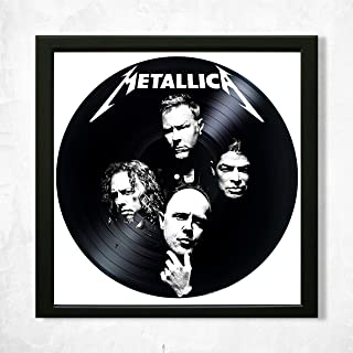 SofiClock Metallica Framed Decor Vinyl 13.8x13.8 - Metallica Rock Band Unique Wall Art Decor - Best Gift for Rock Music Lover - Original Wall Home Decor (Framed)