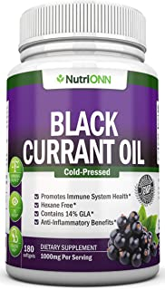 Black Currant Oil - 1000 Mg - 180 Softgels - Cold-Pressed Pure Black Currant Seed Oil - Hexane Free - 140mg GLA Per Servin...