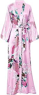 BABEYOND Damen Morgenmantel Maxi Lang Kimono Strandkleid Pfau Gedruckt Strickjacke Kimono Bademantel Damen Lange Robe Schlafmantel Girl Pajama Party
