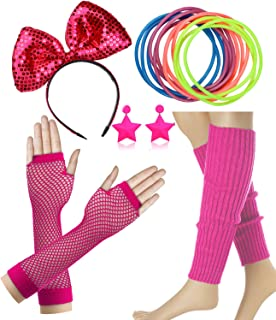 Dancing Stone 80s Costume Accessories for Women Neon Earrings Leg Warmers Gloves