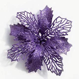 DERVONUNS Poinsettia Christmas Decorations Christmas Flowers Glitter Christmas Tree Decorations and Ornaments (12 Pack)(Purple)
