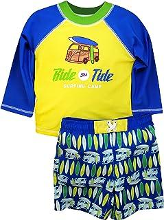 Sol Swim Boys Long Sleeve 2-Piece Rashguard Swimsuit Set | Swimwear for Kids