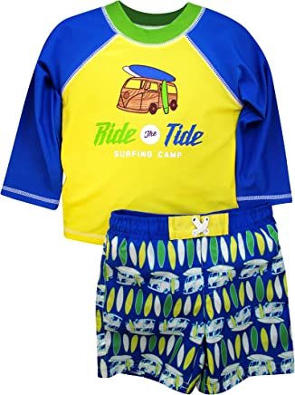 e892c99e Sol Swim Boys Long Sleeve 2-Piece Rashguard Swimsuit Set | Swimwear for Kids