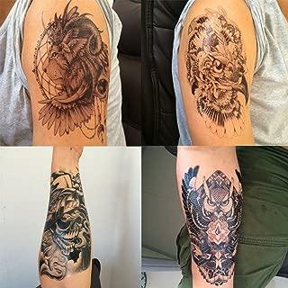 DaLin 4 Sheets Temporary Tattoos, Lion, Hawks, Owl, Skull
