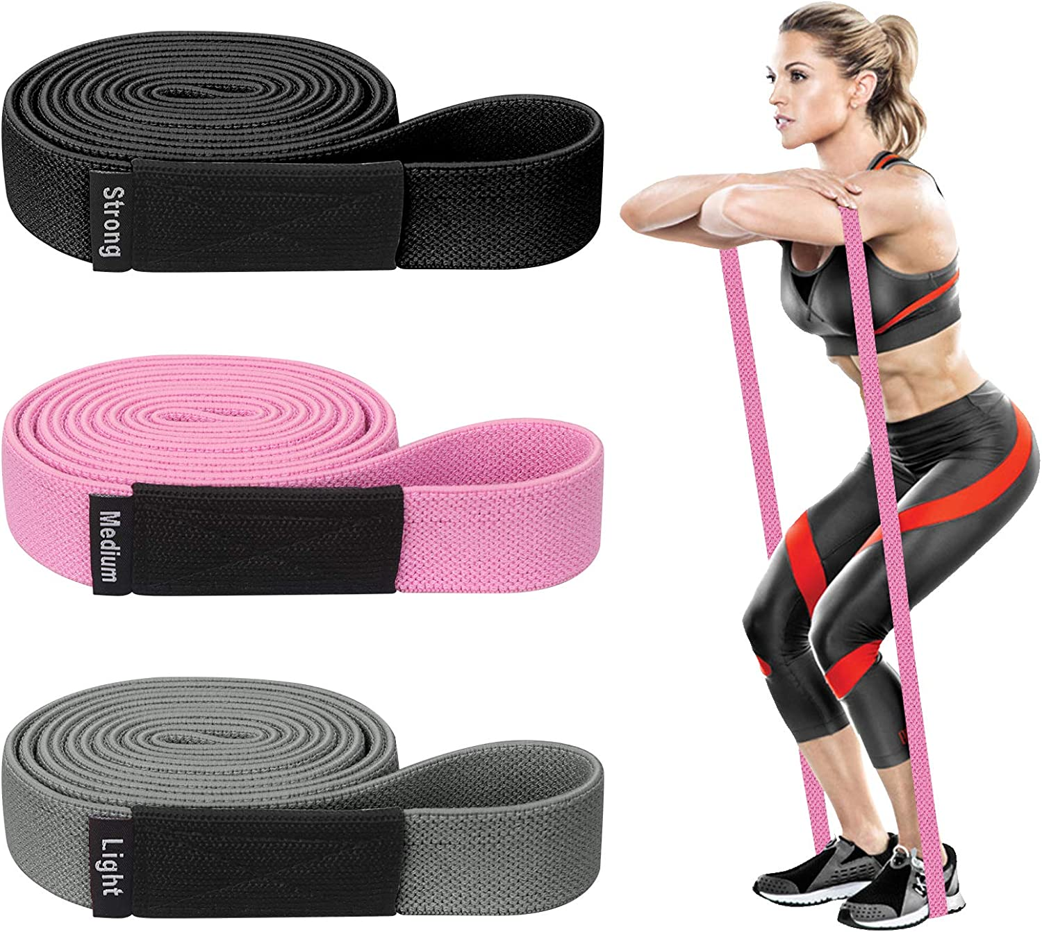 FYY Resistance Bands,Elastic Fabric Pull Up Assistance Bands for Women Men Fitness Body,Stretch Exercise Resistance Bands for Workout Body Powerlifting for Home Gym