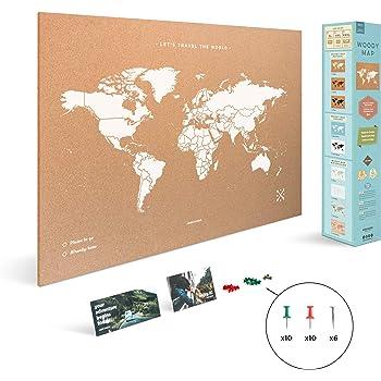 Miss Wood Map XL - Mapa del mundo de corcho, 60 x 90 cm, Blanco ...