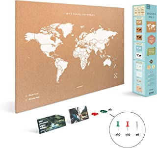 Miss Wood Map XL - Mapa del mundo de corcho, 60 x 90 cm,