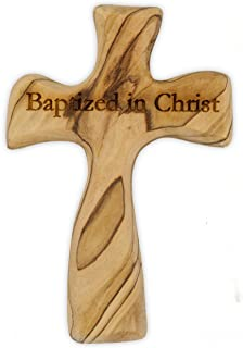 Olive Wood Prayer Cross - Hand Made in The Holy Land (Baptized in Christ)