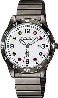 Nautica Men's Quartz Brass Strap, Gray, 20 Casual Watch (Model: NAPPAS103)