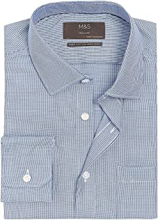 Marks & Spencer Men's Regular Fit Non Iron Pure Cotton Shirt, BLUE MIX