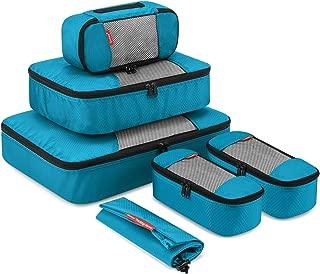 Travel Packing Cubes, Gonex Luggage Organizers Different Set - (L+M+3XS+Laundry Bag) Blue - L+M+3XS+Laundry Bag