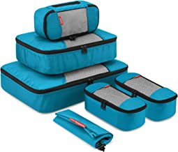Travel Packing Cubes, Gonex Luggage Organizers Different Set - (L+M+3XS+Laundry Bag) Blue - L+M+3XS+Laundry Bag
