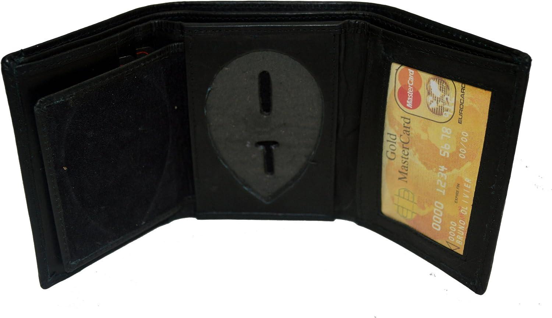 Leatherboss Genuine Leather Police Shield Shape Badge Holder Trifold Wallet, Black