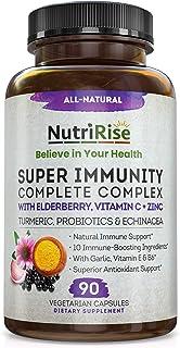 Immunity Complex Immune Support Supplement - 10 Super-Concentrated Ingredients: Vitamin C E B6 Zinc L-Glutamine Elderberry...