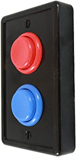 Arcade Light Switch Plate Cover, Single Switch (Black/Red/Blue), 1-Gang Standard Size Rocker Wall Plate, Game Room Decorat...