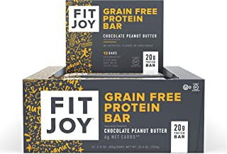 FitJoy Protein Bars, Chocolate Peanut Butter, Gluten Free, Grain Free, Low Carb, 2.11 Ounce, 12 Pack