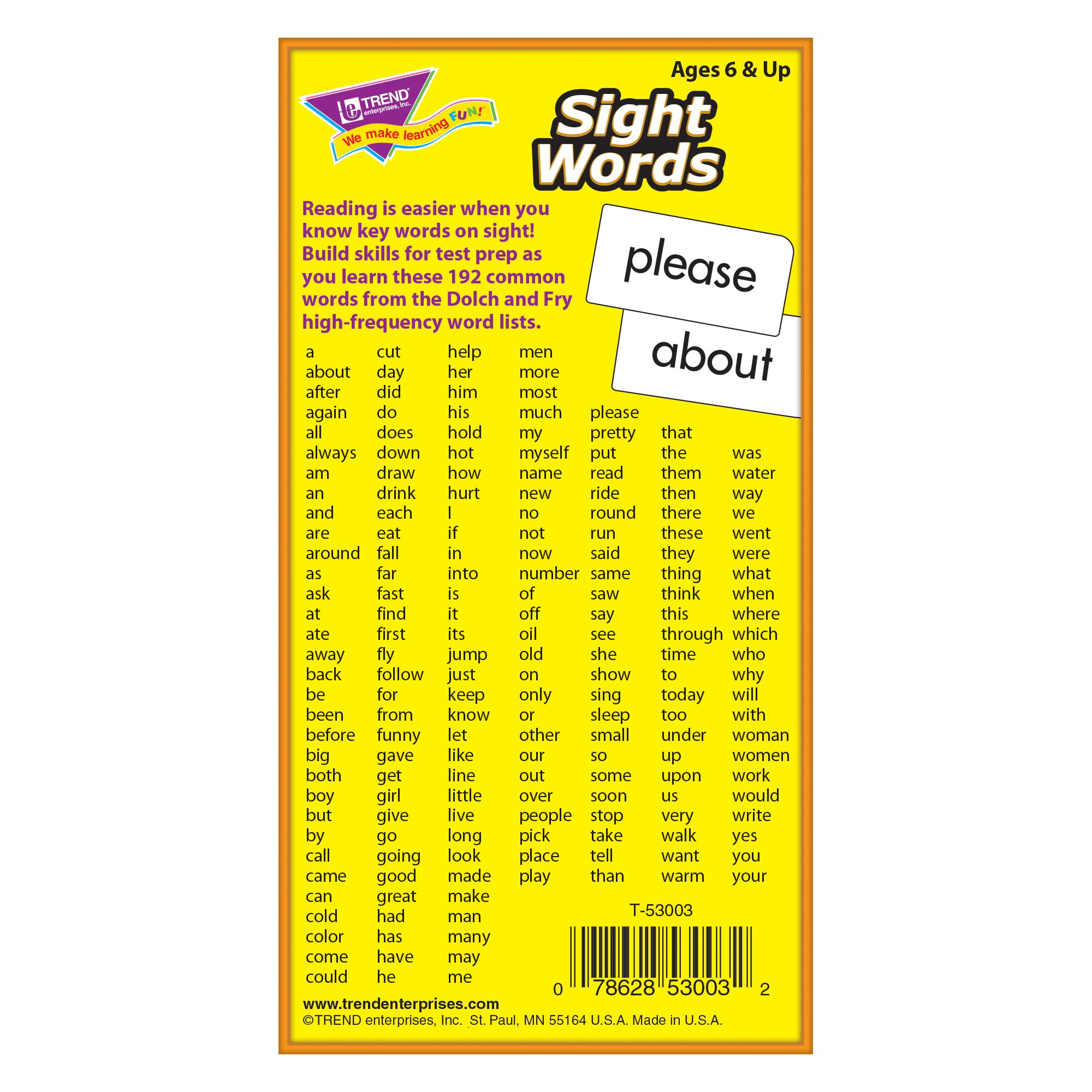 TREND ENTERPRISES, INC. Sight Words Skill Drill Flash Cards, 3 x 6 in (T-53003)