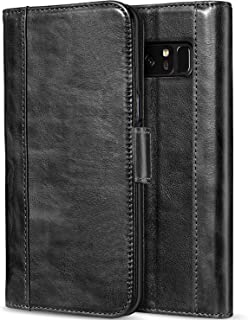 ProCase Galaxy Note 8 Genuine Leather Case, Vintage Wallet Folding Flip Case with Kickstand Card Slots Magnetic Closure Protective Cover for Galaxy Note8 -Black