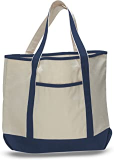 Deluxe Heavy Cotton Canvas Large Tote Bag (Navy) (Single)