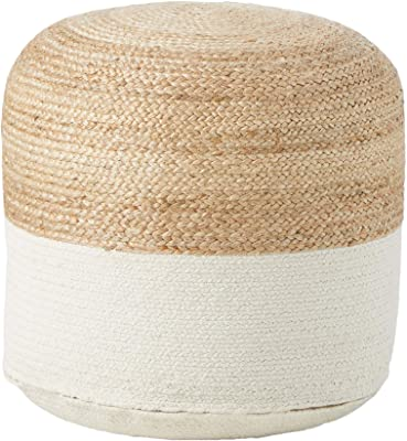 Signature Design by Ashley Sweed Valley Jute & Cotton Pouf, 20 x 20 Inches, Beige & White