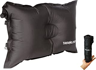 Trekology Self Inflating Camping/Lumbar Pillows - Compressible, Inflatable, Comfortable Air Travel Pillow Cushion for Back Support, Sleeping, Beach, Hiker, Backpacking, Camp, Outdoor