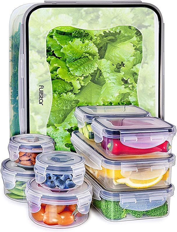 Fullstar Food Storage Containers With Lids Plastic Food Containers With Lids Airtight Leak Proof Easy Snap Lock And BPA Free Clear Plastic Containers With Lids For Kitchen Use 18 Piece Set
