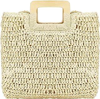 XING Sommer Stroh Strandtasche Groß, Damen Stroh Handtasche Umhängetasche Shopper Crossbody Geflochten Korbtasche Einkaufs...