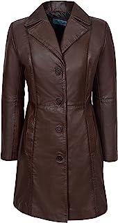 Carrie CH Hoxton Trench Ladies Real Chaqueta de Cuero Clásico Negro hasta la Rodilla Abrigo de diseño 3457