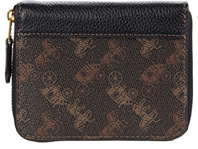 COACH Horse and Carriage Coated Canvas Small Zip Around Wallet