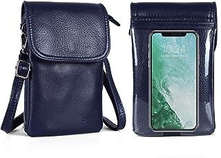 befen Geldbörse für Damen, echtes Vollnarbenleder, klein, mit Schlüsselring, Touchscreen Marineblau, Small