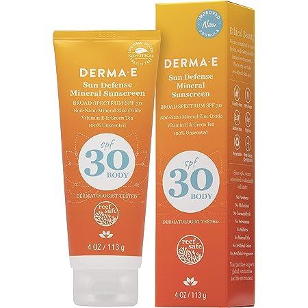DERMA E Natural Sun Defense Mineral Sunscreen SPF 30, Oil-Free 4 oz