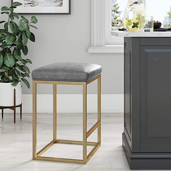 Nathan James 22103 Nelson Bar Stool With Leather Cushion And Metal Base 24 Gray Gold