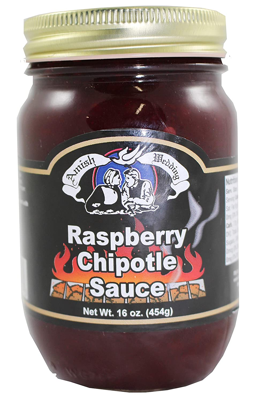 Amish Wedding Raspberry Chipotle Sauce, 16 Ounce Glass Jar